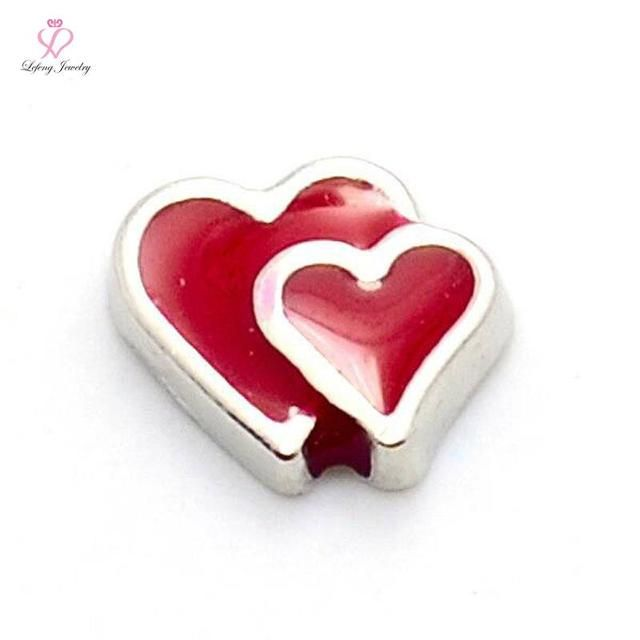 New cute silver couple heart  floating charms for living glass memory glass lockets FC280