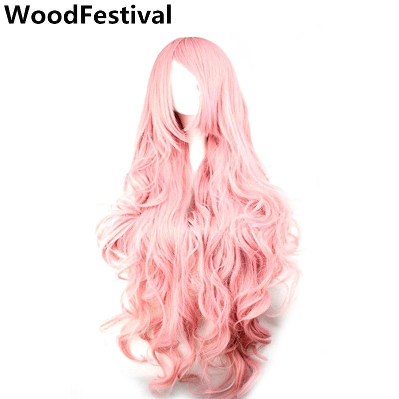 WoodFestival Pink Yellow Purple Synthetic Wigs for Women Heat Resistant High Temperature Fiber Cosplay Long Wavy 100 cm Wig