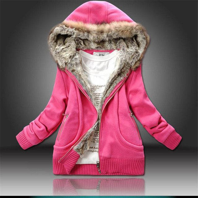 Women Winter Coat 2016 New Arrival Hooded Fur Collar Coat Long Sleeve Thick Warm Solid Color Cotton OverCoat Size M-XXL