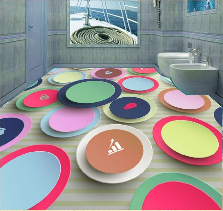 custom floor paper Abstract creative circle murals 3d pvc flooring waterproof 3d floor tiles self adhesive wallpaper