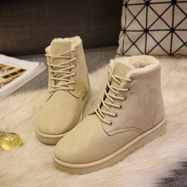 Winter Shoes Women Snow Boots Ankle Martin Warm Fur Boots Footwear Solid Cotton Shoes Female Casual Flat Platform Boots ADT472