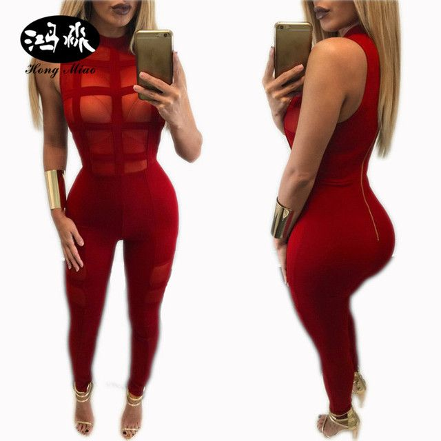2017 hot sexy see through women black rompers womens jumpsuit sleeveless club party bodysuit women bandage bodycon jumpsuit