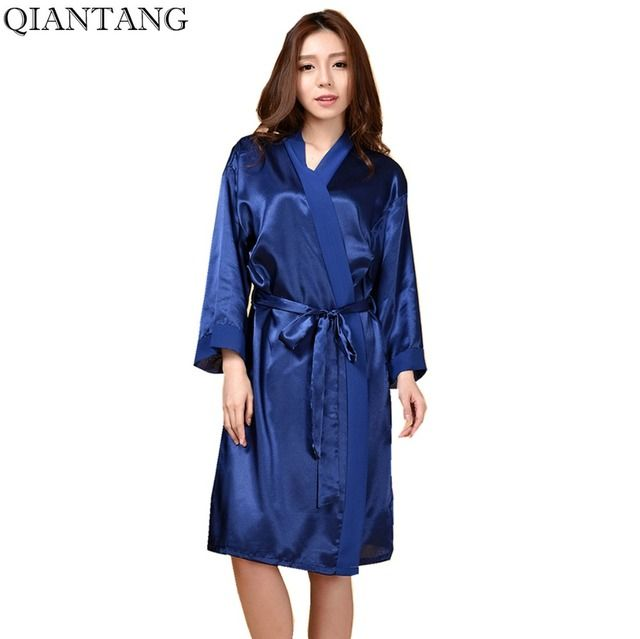 Navy Blue Womens Robe Kimono Bath Gown Faux Silk Nightgown Puls Size Stg001