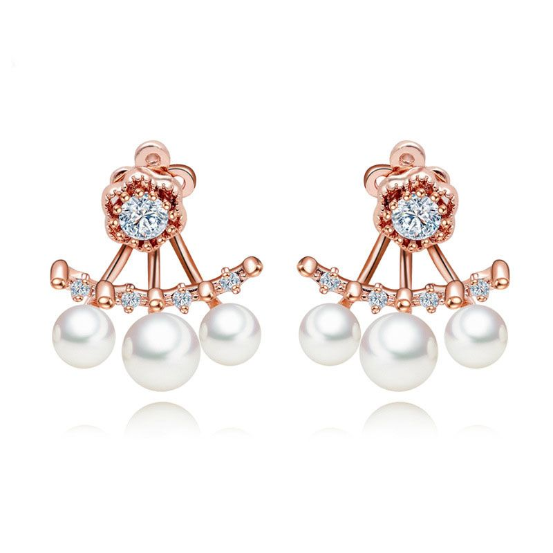 Fashion high - grade pearl zircon Stud Earrings Charm High Quality Copper Plated Rose Gold Female Earrings Women Fine Jewelry