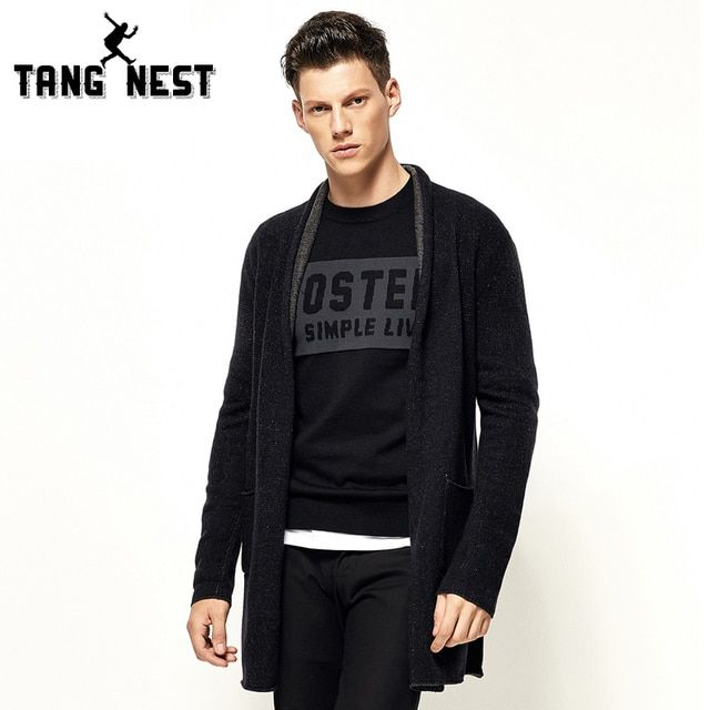 TANGNEST Men Solid Cool Sweater 2017 Autumn Winter Cardigan Black Cool Fashion Warm Fitness New Arrival Sweaters MZM500