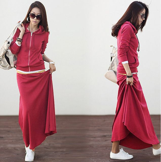 Cheap wholesale 2017 Spring Hot sale women Casual sweatshirt and long skirt Suit Ladies work wear Hoody and skirt 2 pieces Set