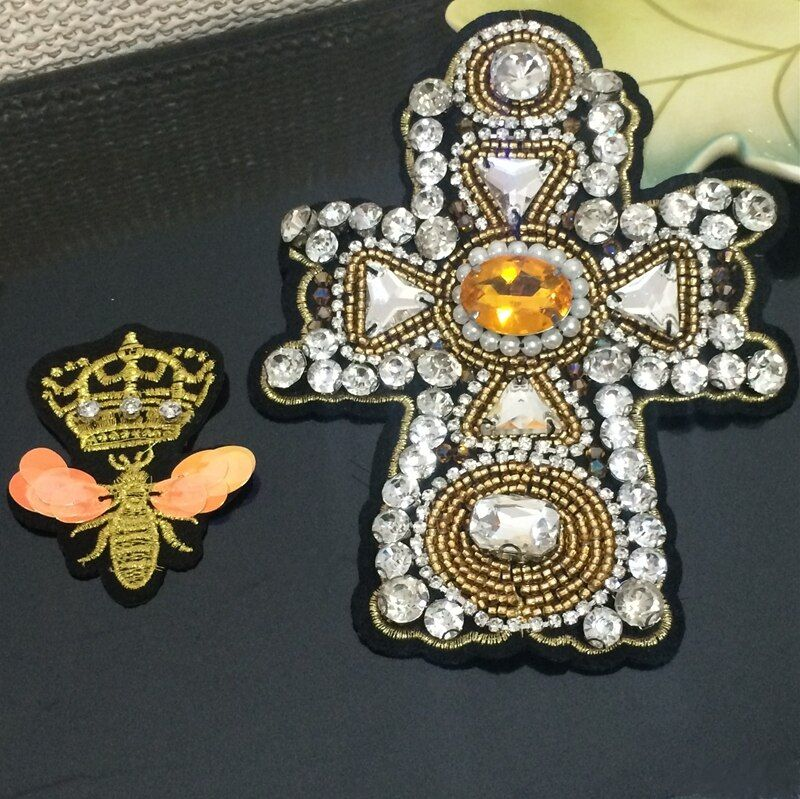 Crystal rhinestone patches applique beaded collar sewing accessories fashion crown bee cross clothing decoration patch