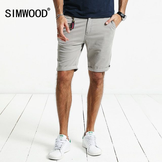 SIMWOOD 2019 Summer New  Shorts Men  Slim Fit Cotton High Quality Brand Clothing KD5047