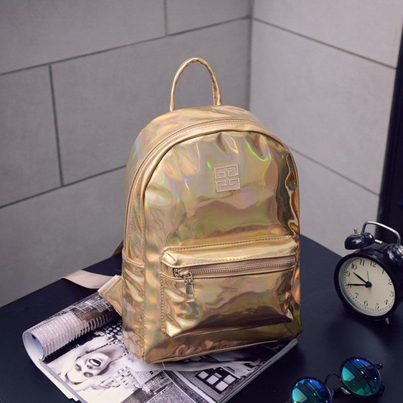 Women New Arrival Rainbow Colorful Metallic Silver Laser Holographic Backpack Hologram Laser Backpack Girl School Bag G00493