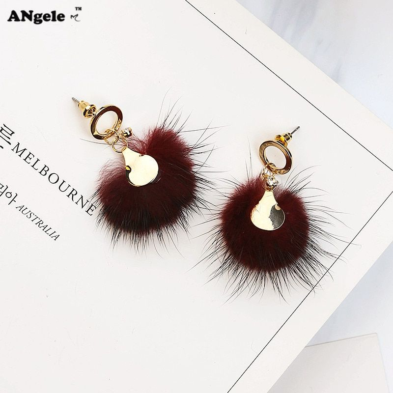 2017 New Mink Fur Ball Earrings Female Simple Small Pendant Earrings For Women Metal Circle Stud Earrings boucle d'oreille