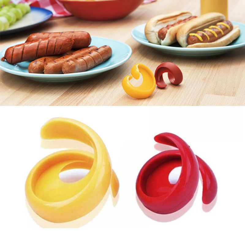 2PCs Manual Fancy Sausage Cutter Spiral Barbecue Hot Dogs Cutter Slicer kitchen Cutting Auxiliary Gadget 301-0492