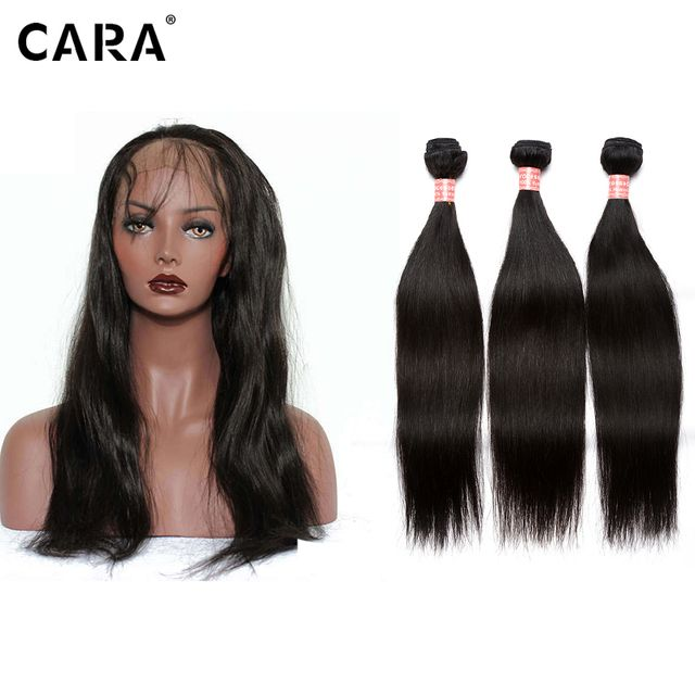 CARA 360 Lace Frontal With Bundles Silk Straight 360 Lace Virgin Hair With Bundles 4 Pcs/lot Pre Plucked Bundles With Closure