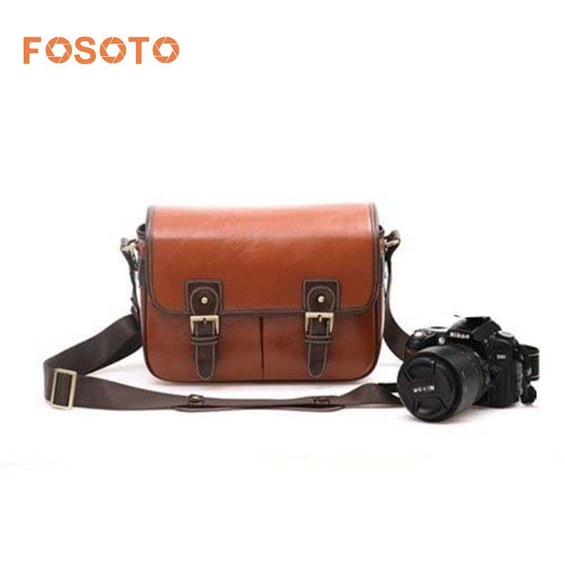 Fosoto Waterproof Vintage PU Leather DSLR Camera Bag Cross Body Portable Case Fit DSLR with 2 lenses For Canon DSLR Camera