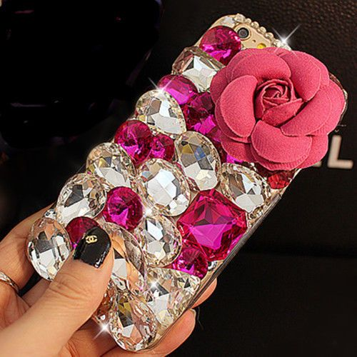 Y7 luxury Bling Diamond Gem Flower Crystal Hard Case Cover for Samsung galaxy Note 7 5 4 3 S3 S4 S5 S6 S6Edge S7 S7Edge A3 A5 A7