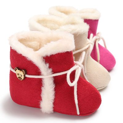 Winter Brand Red Cotton Baby Shoes With Fur infant Boot for Newborn girls Hard Sole toddler Christmas Gift Moccasins Booties