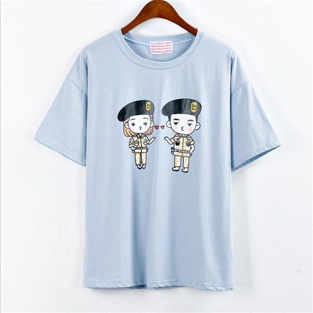 Summer Fashion Women Japanese Harajuku Cute Character Print Loose Funny T-Shirts Lady Girls Basic Tee Cotton T Shirts Tops