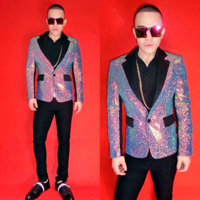 NightClub Male Singer DJ Colorful purple Blazers Suit Men's dress costumes Stage show party dance wear
