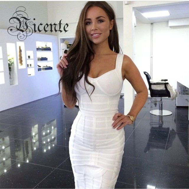 Free Shipping! 2016 New Chic White Vneck Slim Bodycon HL Party Celebrity Bandage Dress