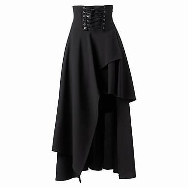Women Retro High Waist Irregular Ham Long Skirt Waist-up Placket Zipper Gothic Lolita Strap Black  Long Skirt