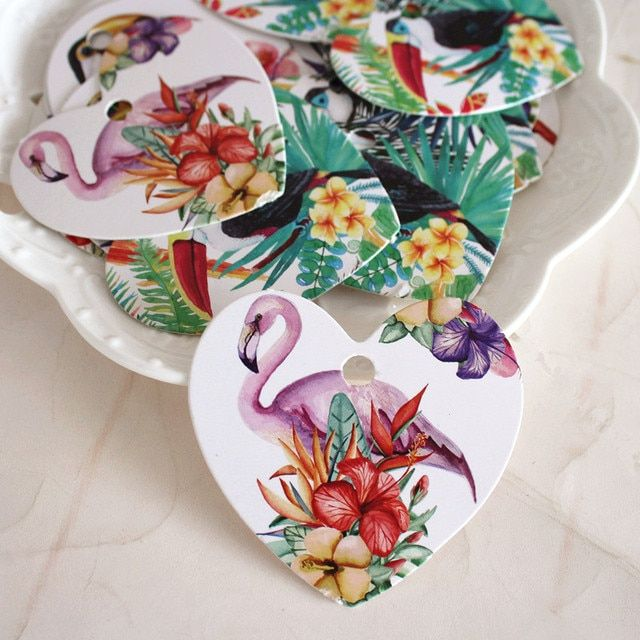 flamingo 50pcs heart shape tropical animal flower design paper labels packaging decoration tags