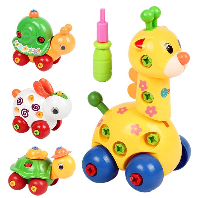 Kids Animal Puzzle Educational Toys Children Disassembly Assembly Cartoon Giraffe Snail Tortoise Rabbit Puzzle Random Patterns