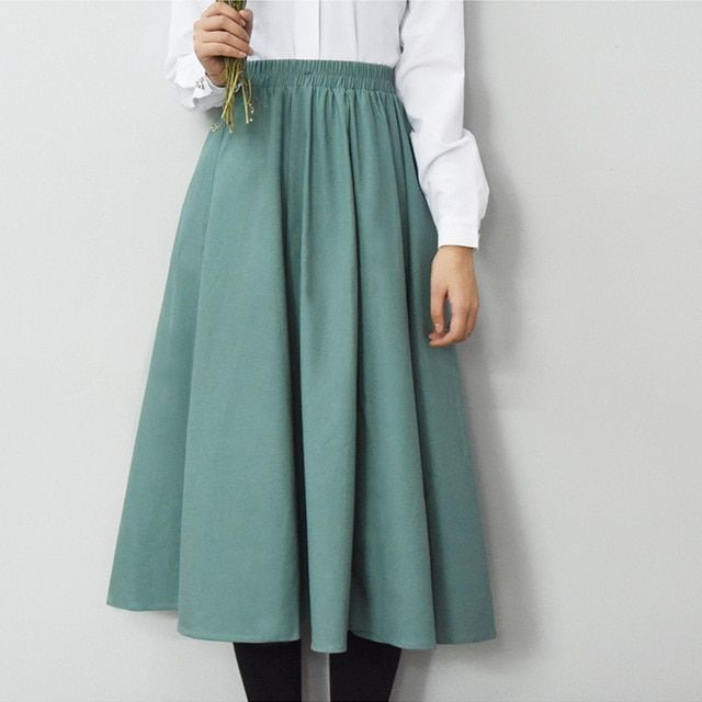 Cotton and linen skirts 2016 Brand high quality new women's linen A shape pleated skirt Large size