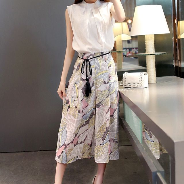 2 Piece Set Women 2016 New Summer Fashion Casual Sleeveless Chiffon Blouses+Wide Leg Pants Slim 2 Piece Set Women Suits 8003