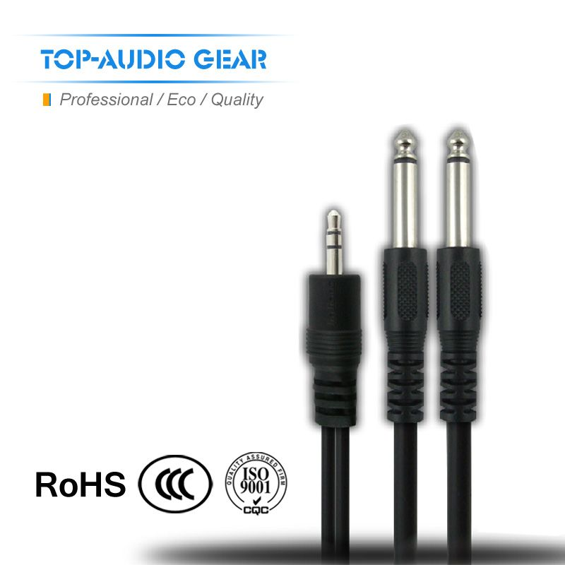 Free Shipping 1.5M 3M Dual 6.3 6.35 6.5 mm to 3.5 mm Jack Plug Cable Male Connector Audio Lead Mixer Power Amplifier Wire Cord