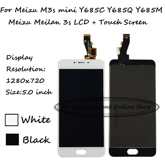 100% Test Black/White For Meizu M3s mini Y685C Y685Q Y685M Y685H / Meizu Meilan 3s LCD Display + Touch Screen Digitizer Assembly