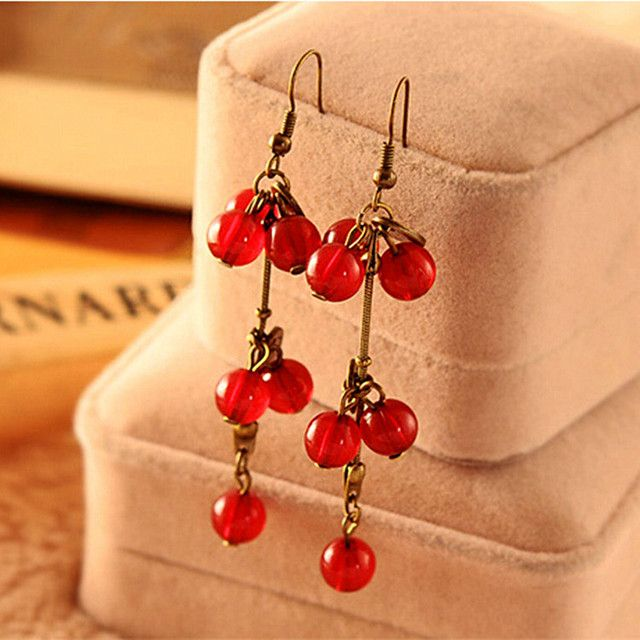 E685 New Fashion New 2017 Brinco Tassel Boucle Bijoux Vintage Red Cherry Coin Drop Earrings For Women Girl Jewelry Pendientes