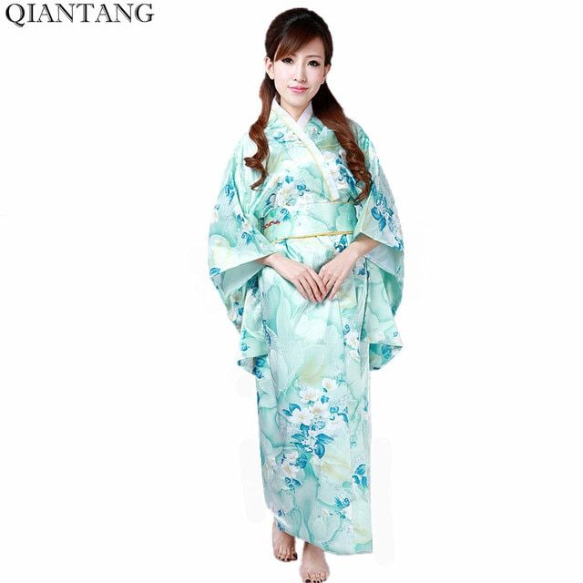 Light Blue Hot Sale Traditional Japanese Women's Kimono Haori Obi Yukata Faux Silk Satin Evening Dress Flower One Size H0047
