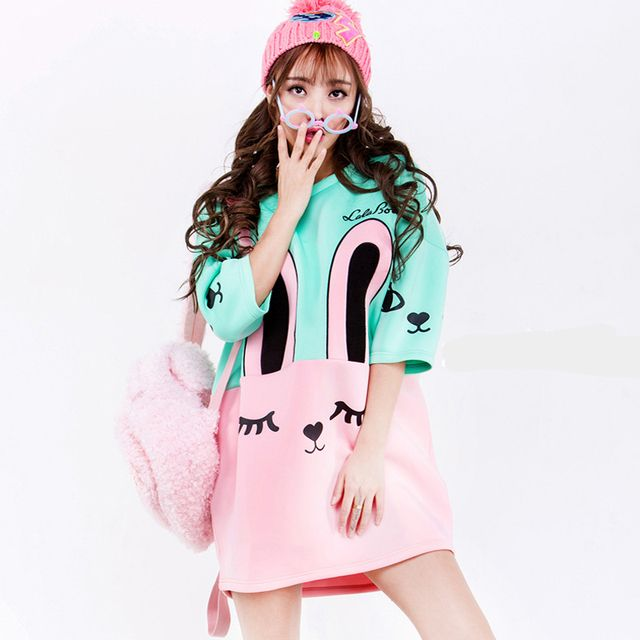 Summer Stye 2015 New Harajuku Student Short Sleeve Cartoon Dresses Women T shirt Dress Loose Large Robe Femme Pink Rabbit YB636
