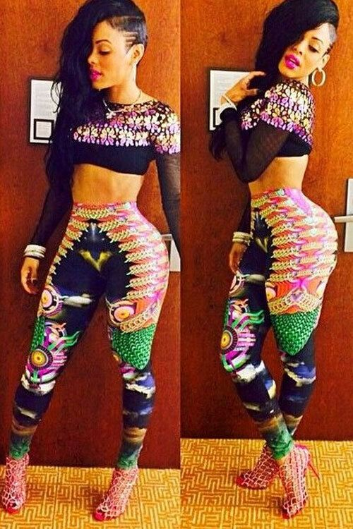New Arrival  Women Sexy Print Pant Set LC6784  two Piece Set Women Crop Top And Pant Set