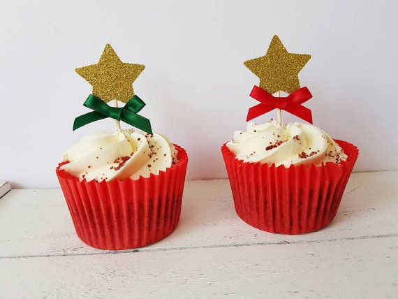 Christmas cupcake toppers. Star cupcake toppers. Cake toppers. Christmas decorations. Table decor. Gold glitter, silver glitter