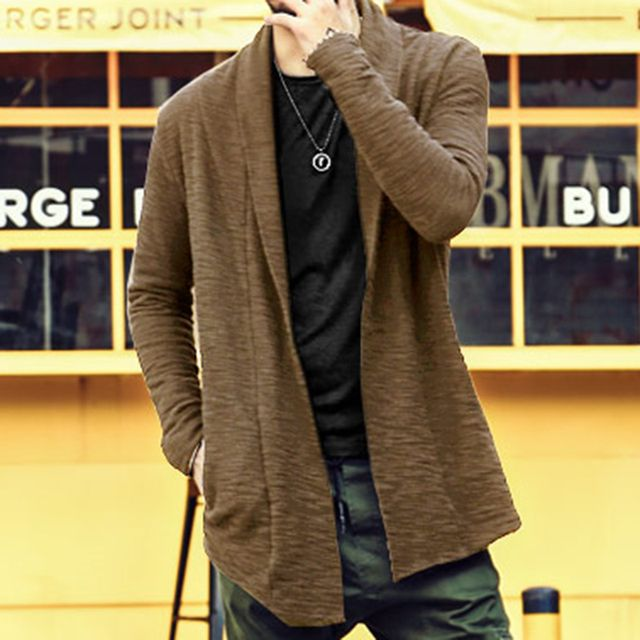 cotton cardigan coat knitted masculino Autumn new men's winter buttonless long cardigan plus size with pockets men sweater thick