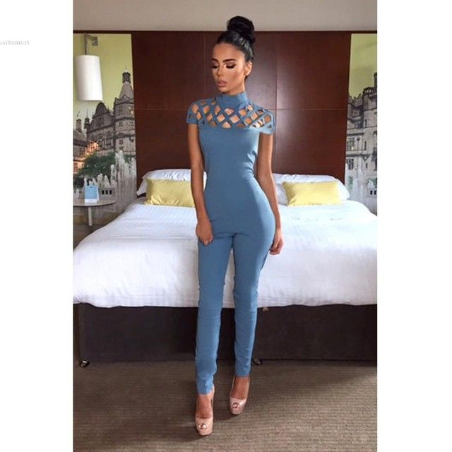 Hot Selling Women Hallow Out Design Sleeveless Slim Long Jumpsuit Choker High Neck Caged Sleeve Playsuits Long Rompers Bodysuit