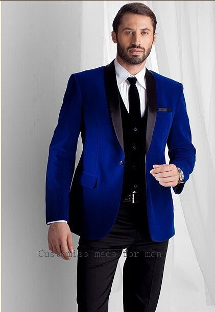 2017 New Fashion Royal Blue Velvet Jacket Groom Tuxedos  Lapel Best Men Suit Prom Tuxedos For Men Wedding Suits With Pants