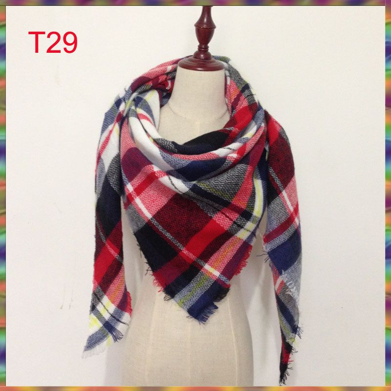 Hot wholesale!2017 New design Brand Winter Scarf Check Tartan blanket Plaid Women lady scarf,!140cmx140x190cm triangle shawl