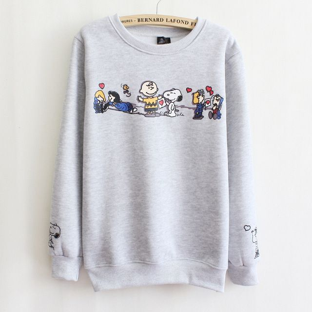 2017 fall and winter clothes new Korean cartoon Fleece sweatshirts hoodies Fleece Women sweatershirts girls students