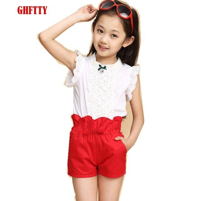 Baby Girls Clothes New Summer Fashion Girl Lace Shirt + Shorts Suit Is Suitable For Kids Child Clothing 5 To 13 Years Old