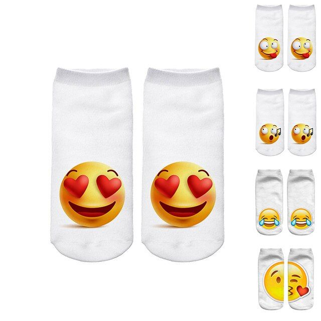 Hot Sale 3d Emoji Printing Expression Women Socks Funny Low Ankle Short Socks for Women Men Unisex