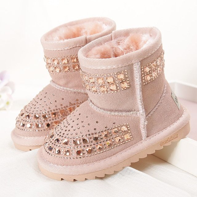 Winter Girls Boots Children Snow Boots Reihnstone Kids Genuine Leather Rubber Boots  Shoes With Fur Princess  Baby Girls Boots