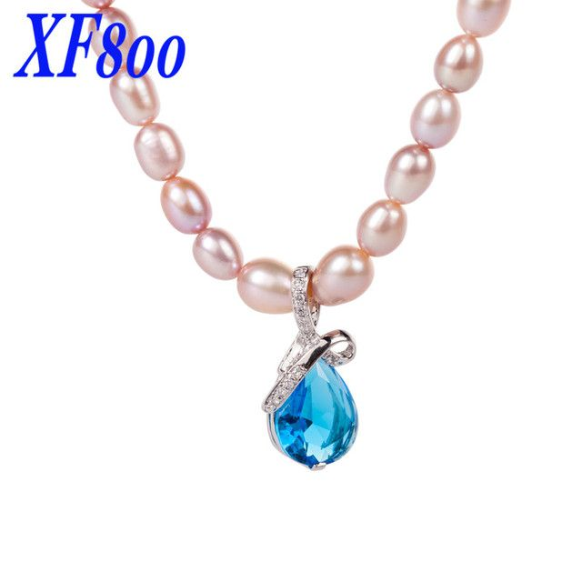 XF800 Rare Natural   Purple Pearl Chokers necklaces,7-8mm freshwater pearl necklace for women X1221