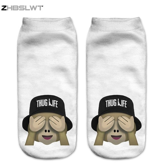 ZHBSLWT Single Side 3D Printed Emoji Monkey Bucket Hat Women Socks calcetines Casual Charactor Socks Unisex Low Cut Ankle Socks