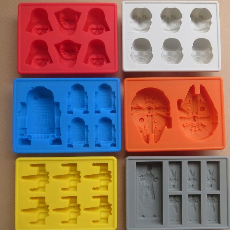 6pcs Death Star Wars Darth Vader Storm Trooper Falcon X-Wing R2D2  Hans Solo Silicone Mold DIY Ice Cube Tray Cake Chocolate Mold
