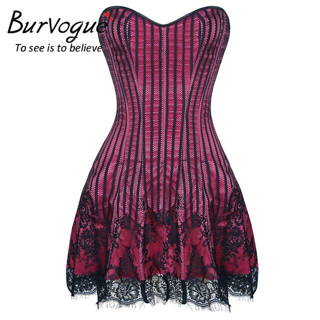 Burvogue Women Steampunk Corset Dress Shapers Lace Party Dress Sexy Corset and Bustier Push Up Gothic Overbust Corset Dress