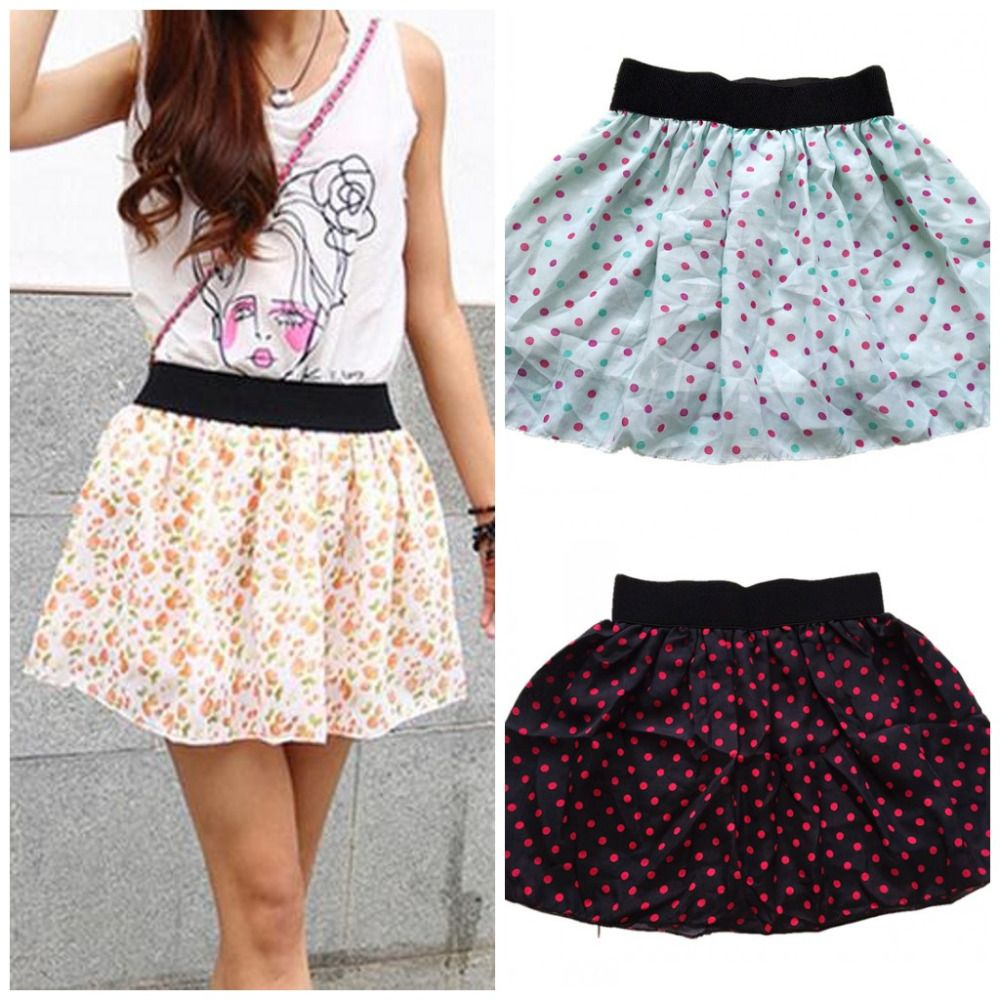 Fashion Sexy Women's Chiffon Skirt Low Waist Print Skater Girls' Flared Pleated Casual Mini short Skirt Lining Layer H148