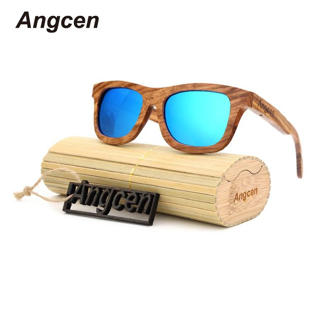 Angcen glasses 2017 New handmade wooden ladies fashion polarized men women brand designer Bamboo Eyewear mirror UV400 sunglasses