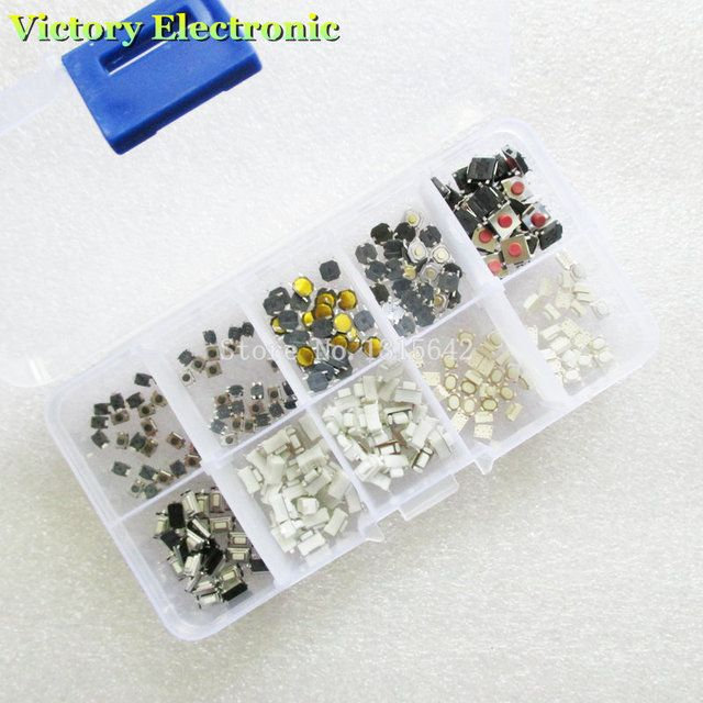 250PCS/Lot 10 models 250 pcs SMD Tactile Switch In Box Micro Switch Car remote control button switches