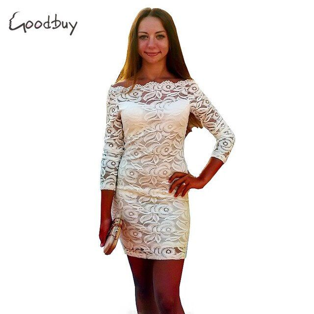 Goodbuy 2017 Summer Dress Bodycon Fashion Off Shoulder Strapless Women's Dress Lace Party Dress Sexy Slash Neck Vestidos Robes